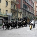 Funeral with eight black horses for the widow of the boss