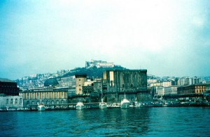 Naples harbour in Italy shot from the water
