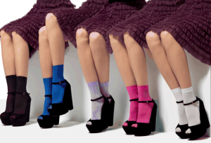 Multi-coloured Goldenpoint socks for 2013 collection