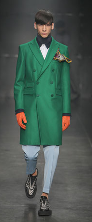 Green coat from Pompilio collection 2014 - 15