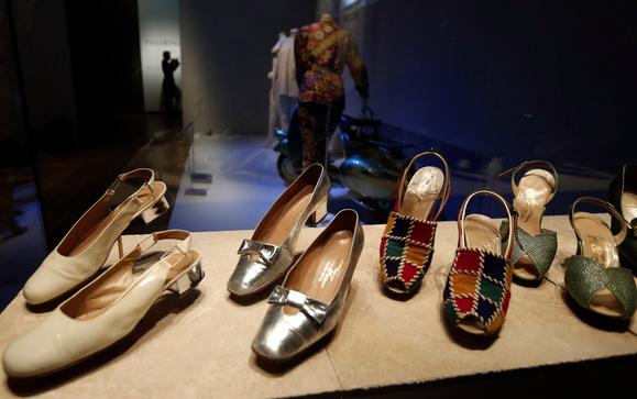 Classic Italian shoes on display