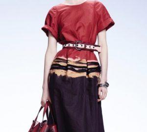 Red outfit from bottega-veneta