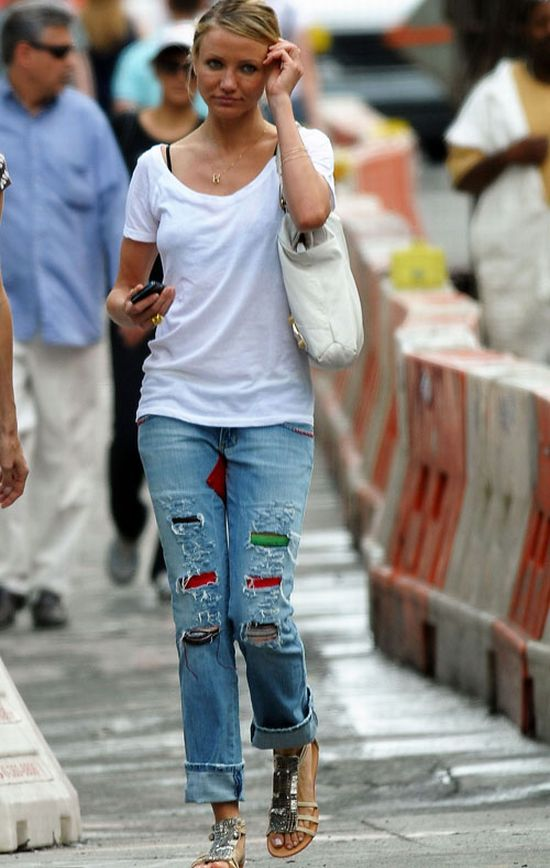 Cameron Diaz wearing patchwork jeans
